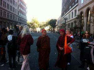 Even some monks came to the protest.