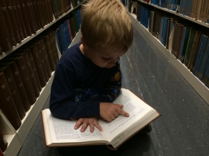 Reading his grandfather's paper in the American Journal of Botany.