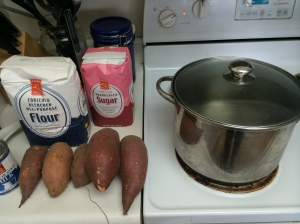 Sweet potatoes ready to be prepared.