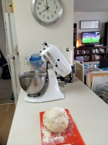 The dough was ready to roll. I set it aside at 8:00 sharp to start on the potatoes.