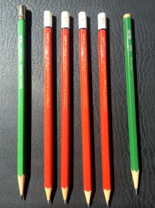 """Utrecht professional red drawing pencils in various grades, plus a Kimberly 2H from the U.S.A.'s """"General Pencil Co."""" and a Castell 9000 H from Germany."""
