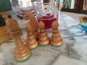 We played two chess games and drank all the lemonade.