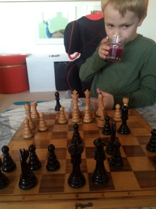 Pondering his next move.