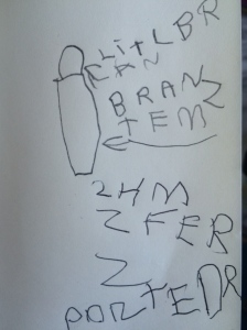 """LITL BRAN"" (little brain) and ""BRAN ZTEM"" (brain stem) plus ""2HMZFERZ"" (2 Hemispheres)"